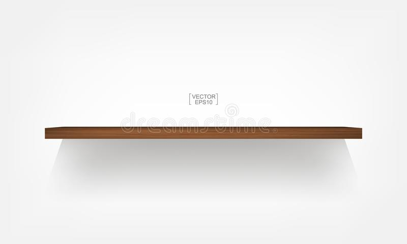 Empty wood shelf on white background with soft shadow. 3D empty wooden shelves on white wall. Vector illustration vector illustration
