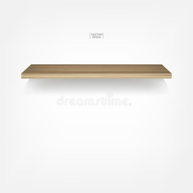 Empty wood shelf on white background with soft shadow. 3D empty wooden shelves on white wall. Vector illustration stock illustration