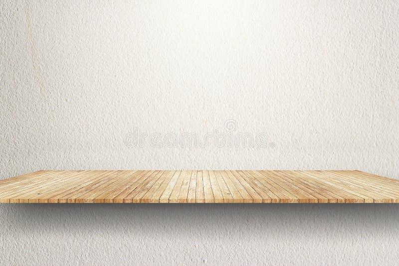 Empty wood shelf on white wall. Background stock photography