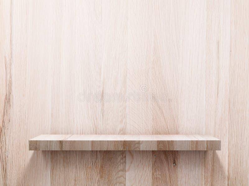 Empty wood shelf on wood wall stock photo