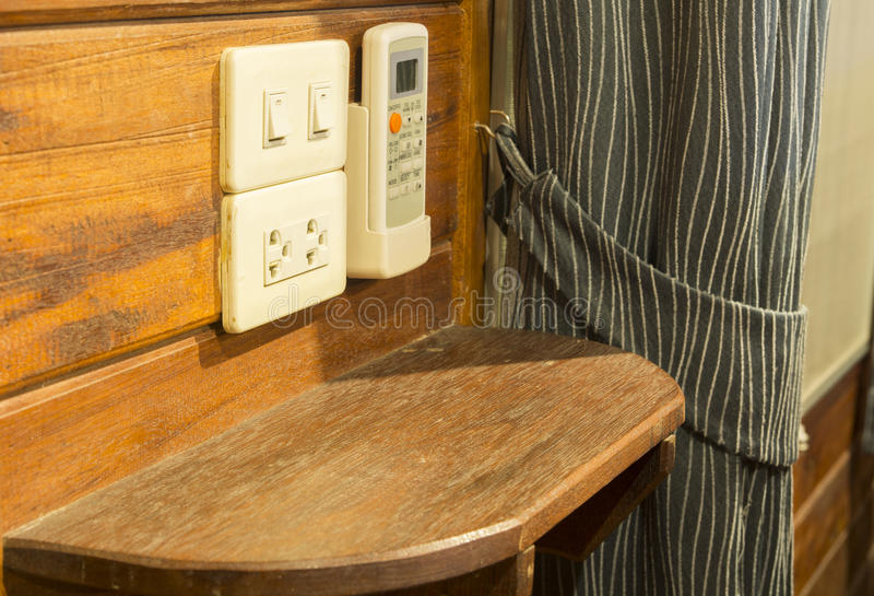 Empty wood shelf on wooden wall. Empty brown wood shelf on wooden wall stock images