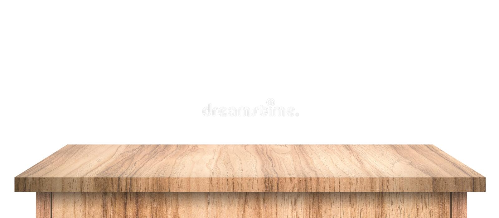 Empty Wood table with abstract pattern isolated on pure white background. Wooden desk and shelf display board with perspective royalty free stock images