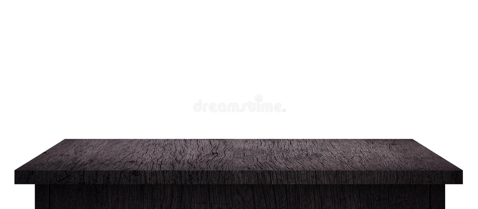 Empty Wood table with black pattern isolated on pure white background. Wooden desk and black shelf display board with perspective royalty free stock photography