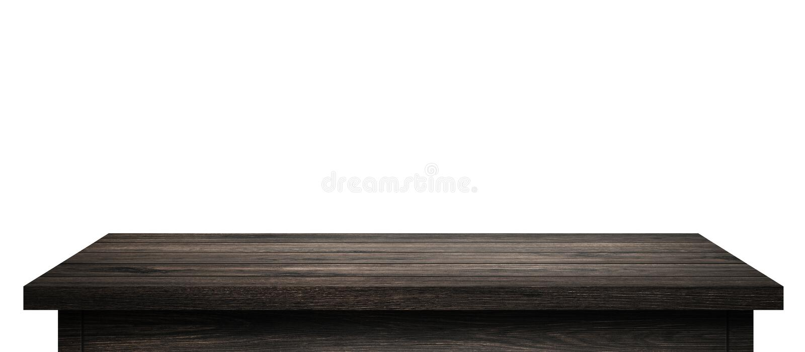 Empty Wood table with black wood planks isolated on pure white background. Wooden desk and black shelf display board with stock photos