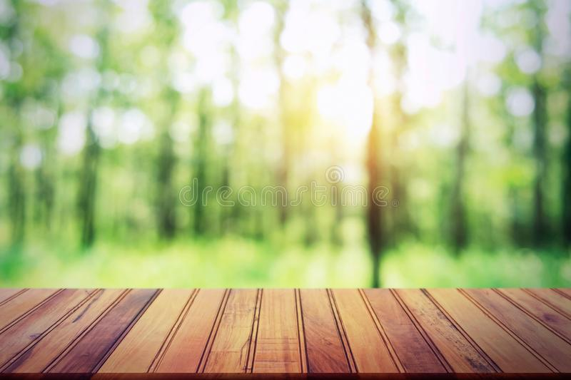 empty wood table on blur forest background for design product stock photos
