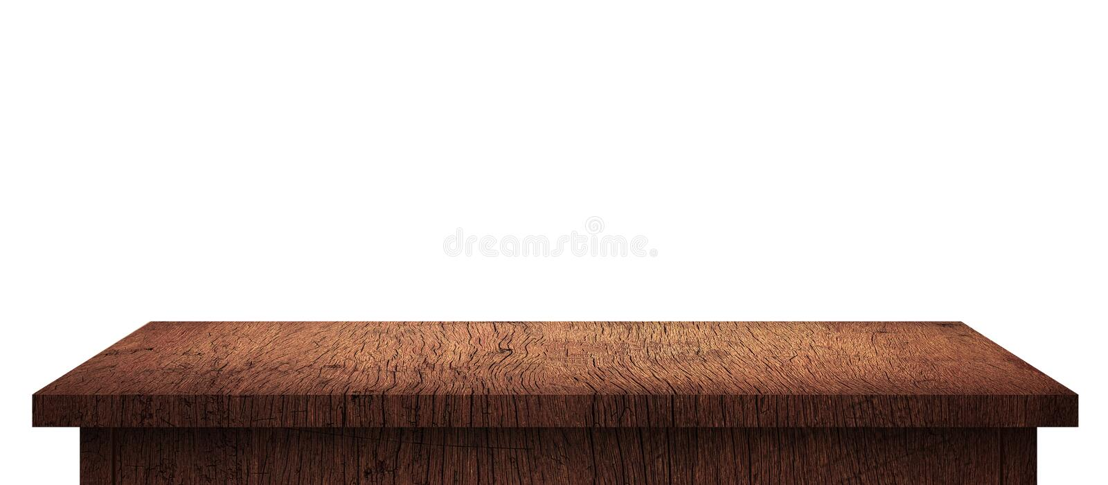 Empty Wood table with brown pattern isolated on pure white background. Wooden desk and shelf display board with perspective floor royalty free stock photo