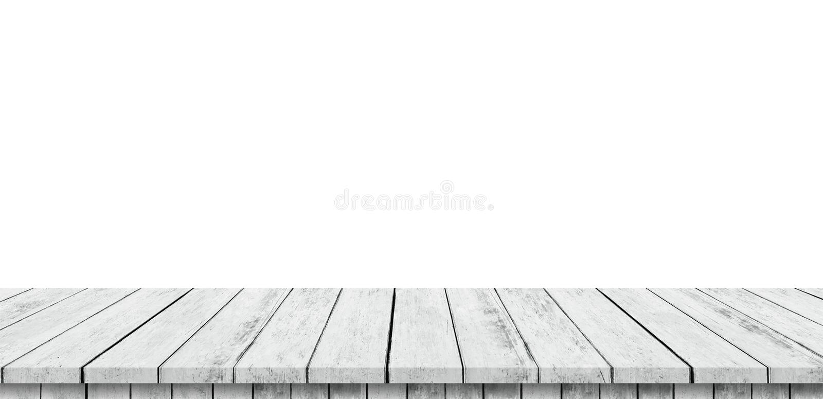 Empty wood table panorama on isolate white background and display montage with copy space for product royalty free illustration