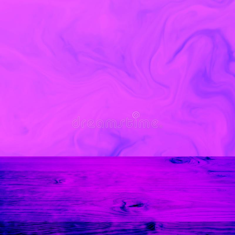 Empty wood table top on gradient neon color stock photos