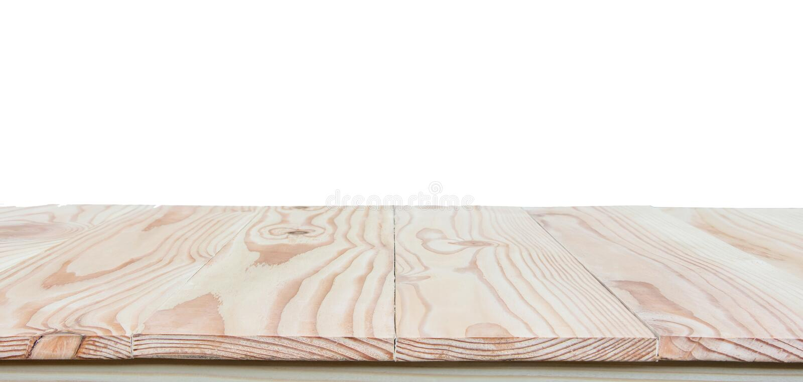 Empty wood table top isolated on white background with clipping path and copy space for display or montage your products royalty free stock photography