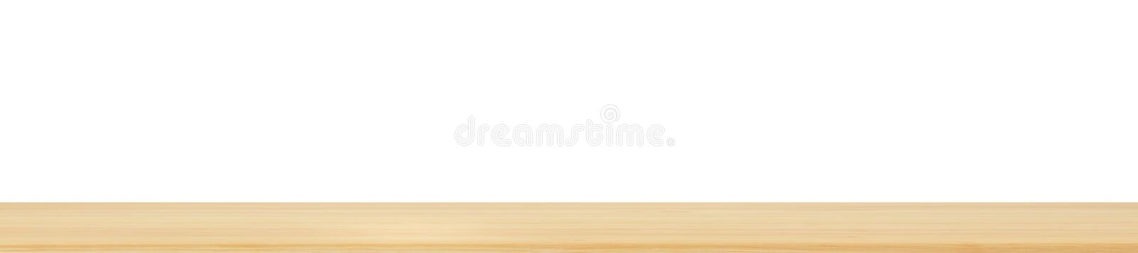 Empty wood table top isolated on white background royalty free stock photo