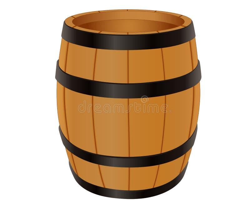 Empty wooden barrel royalty free illustration