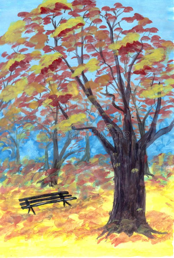 Empty wooden benches and lush colorful autumn trees on walkway in a city park at sunny autumnal day vector illustration