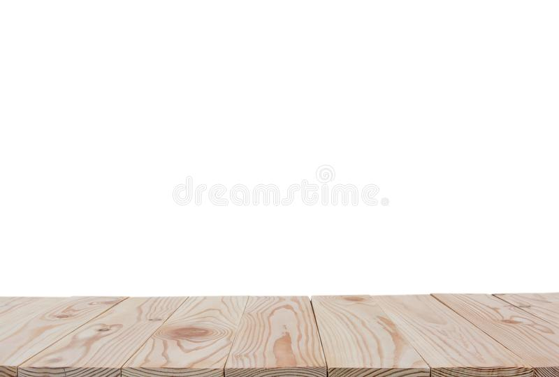 Empty wooden board table top isolated on white background with clipping path and copy space for display or montage your products stock image
