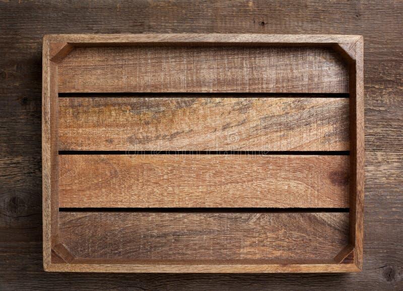 Empty wooden box stock photo