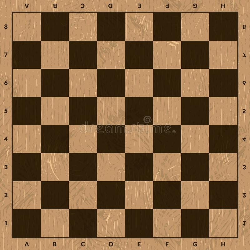 Empty wooden brown chess board vector illustration