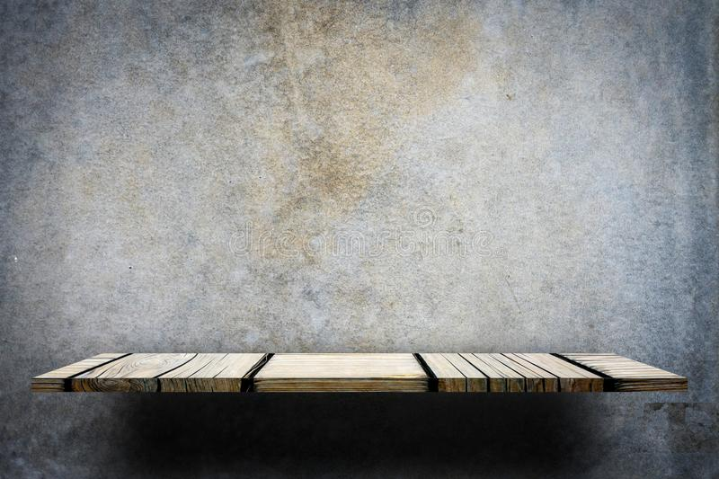 Empty wooden counter on gray background stock photography