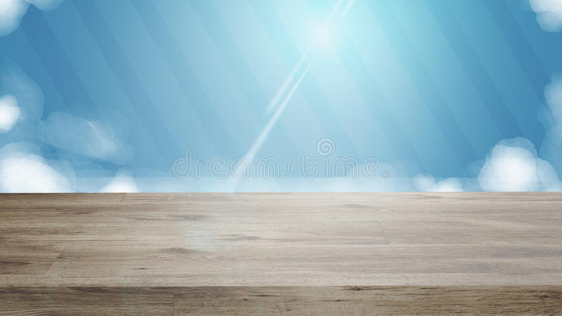 Empty wooden deck table. stock illustration