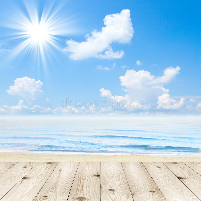 Wood Floor On Beach Sea And Blue Sky For Background Stock: Empty Wooden Deck Table With Tablecloth For Product