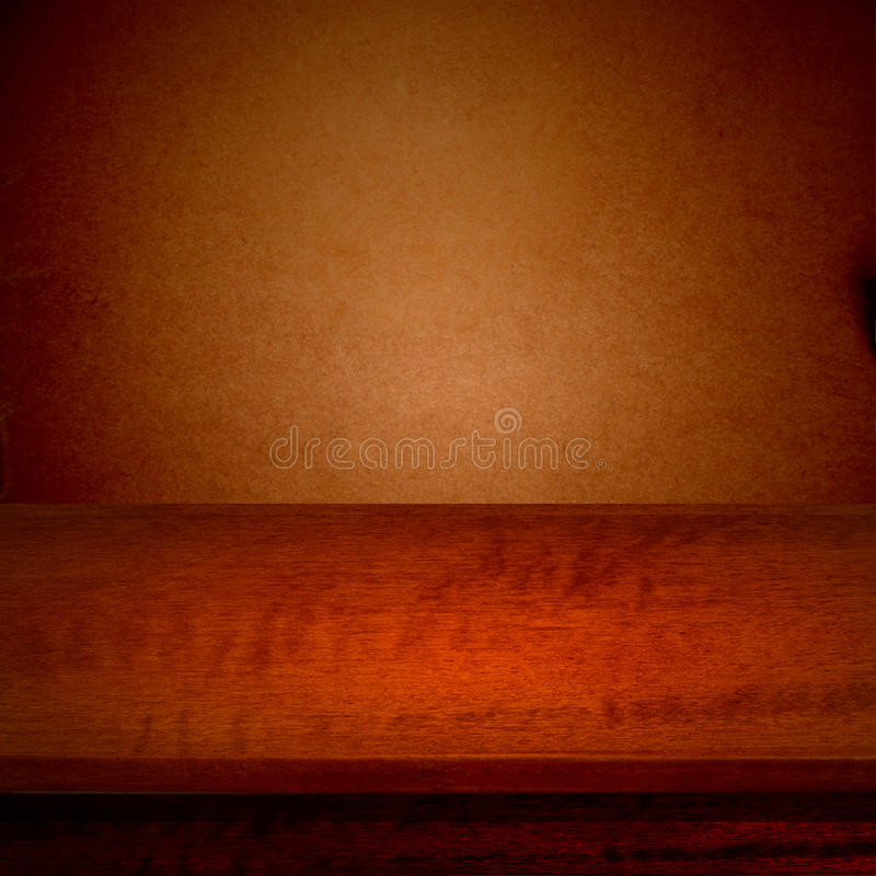 Empty wooden deck table with tablecloth for product montage. stock photo