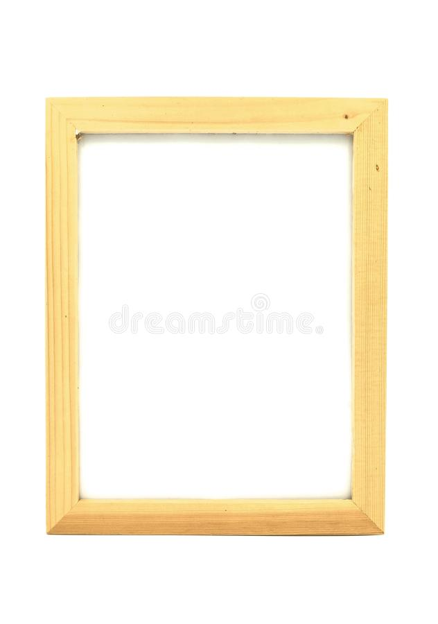 Empty Wooden frame on white background of file with Clipping Path . Space for text and images.  stock photography