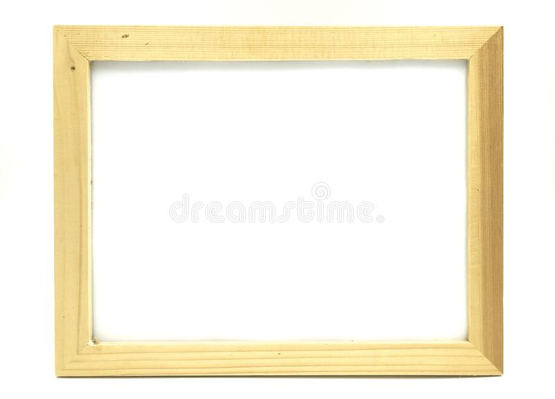 Empty Wooden frame on white background of file with Clipping Path . Space for text and images.  royalty free stock photo