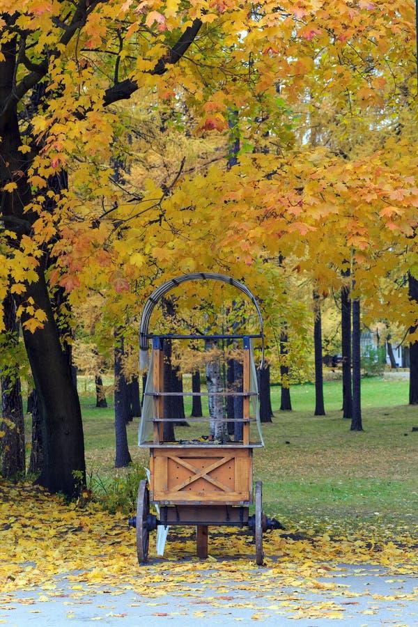 Empty wooden kiosk on wheels. royalty free stock photo