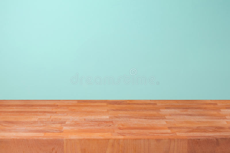 Download Empty Wooden Kitchen Counter Over Mint Wall Background For Product Montage Stock Image