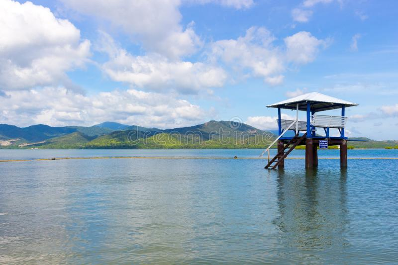 Lifeguard cabin on the beach. Empty wooden lifeguard tower or post on the sea on a tropical island in the area for diving and snorkeling, Philippines. Summer royalty free stock photo