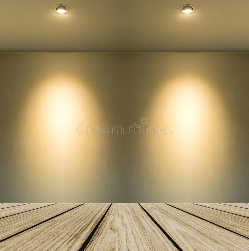 Empty Wooden Perspective Platform with Lamp Shade from Small Lamp on Abstract White Wall Background with Copy space royalty free stock photography
