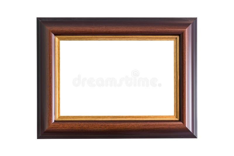 Empty wooden photo frame isolated on white. Interior decoration. stock image