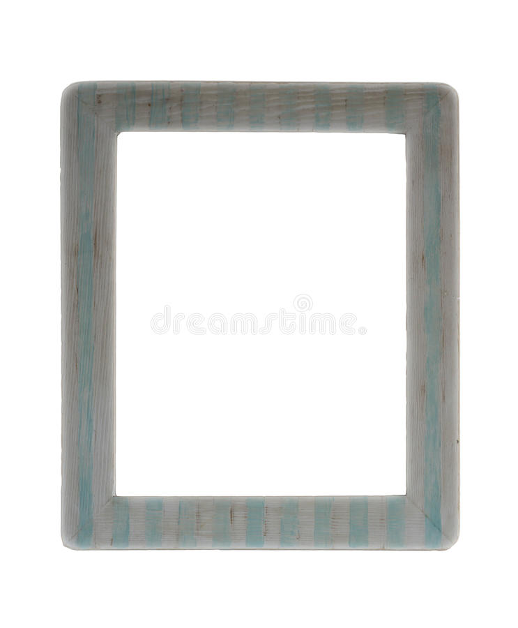 Empty wooden picture frame, vintage, striped in white and blue. stock photo