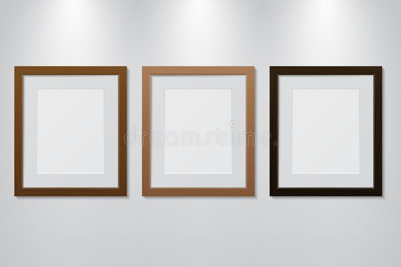 Empty wooden picture frames set on the wall with light effect. Vector illustration stock illustration