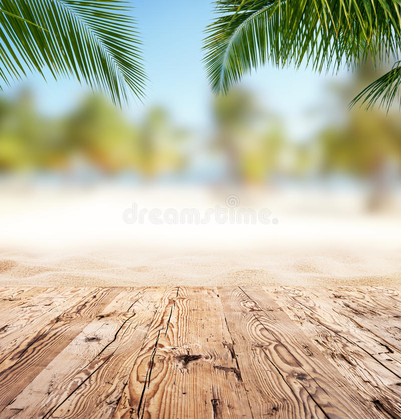 Wood Floor On Beach Sea And Blue Sky For Background Stock: Empty Wooden Planks With Blur Beach On Background Stock