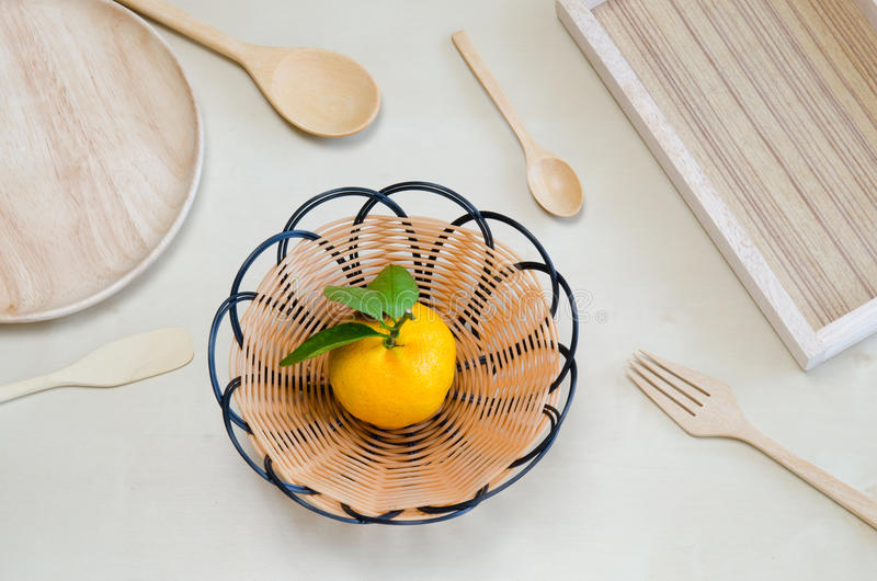 Empty Wooden Plate Wooden Tray Wooden Spoon Wooden Fork