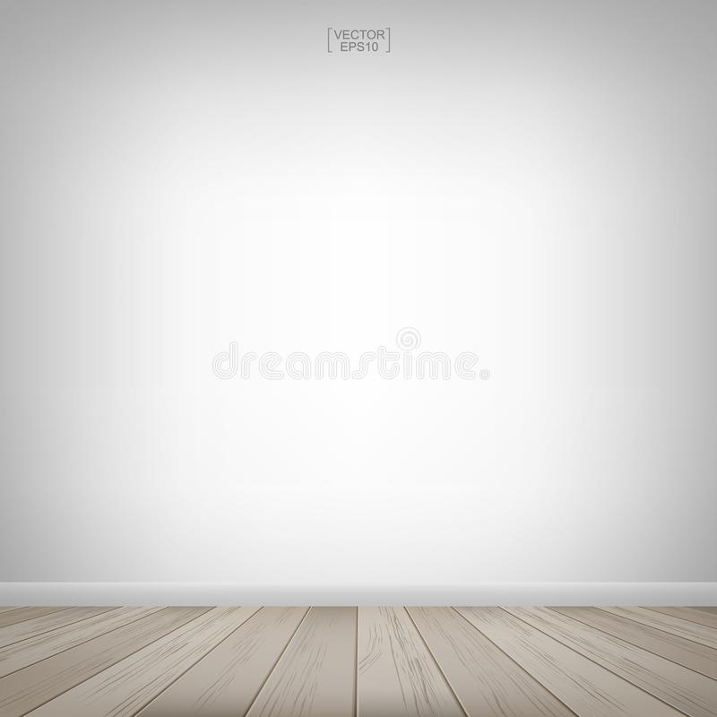 Empty wooden room space and white wall background. Vector illustration. Empty wooden room space and white concrete wall background. Vector illustration royalty free illustration