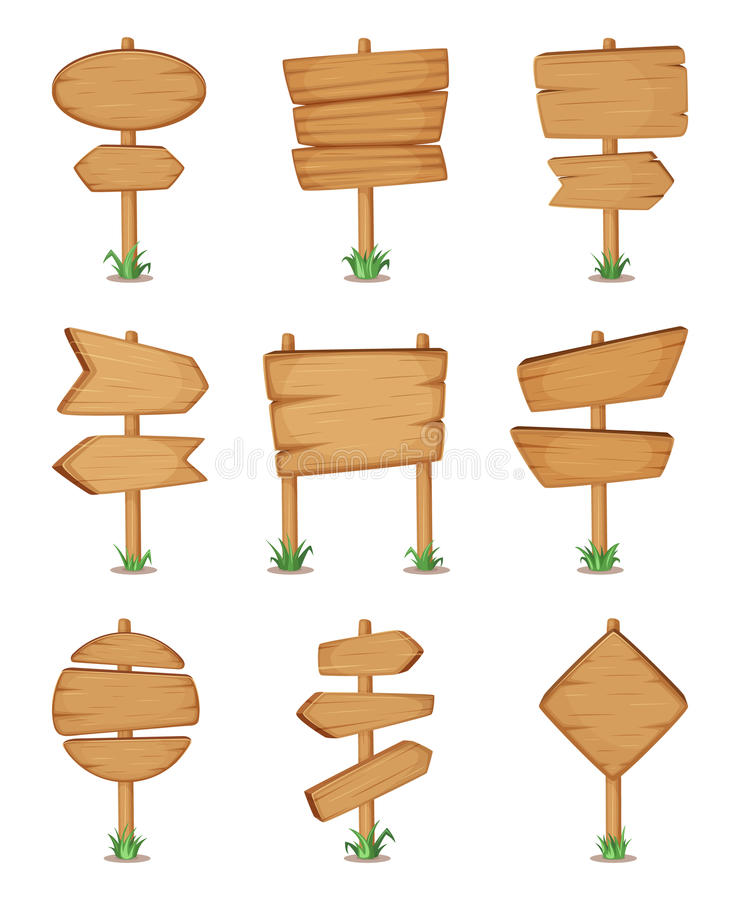 Empty wooden round and square signpost standing in grass. Vector illustration set stock illustration