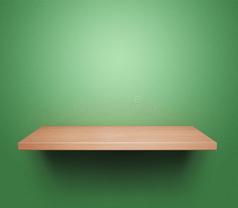 Empty wooden shelf. Empty wooden book shelf at the green wall stock illustration