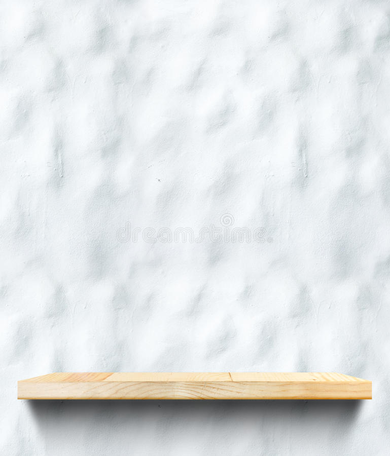 Empty Wooden shelf at concrete wall,Template mock up for display royalty free stock photography