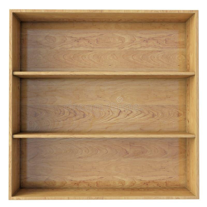 Empty wooden shelf isolated on white background stock image
