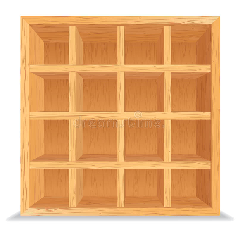 Empty Wooden Shelves Isolated on White Wall. Wood Shelf Vector Background royalty free illustration