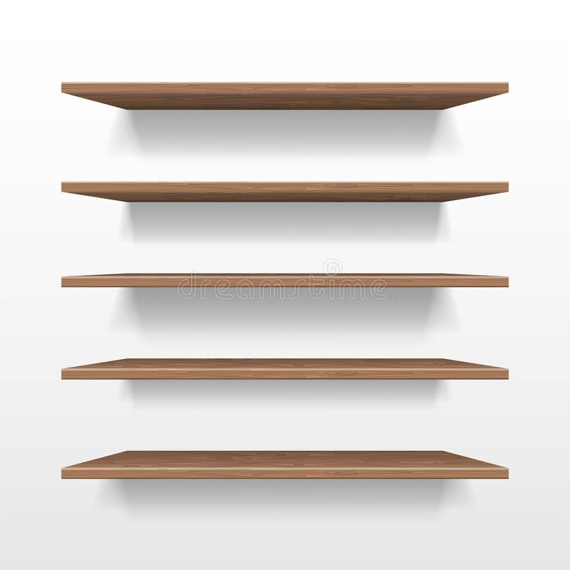 Empty wooden shop or exhibition shelf, retail shelves mockup isolated. Realistic wooden bookshelf with shadow on wall. 3d Bookshelf store or shop vector royalty free illustration