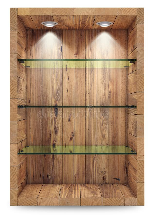 Empty wooden showcase with glass shelves for exhibition. islolated on white with clipping path. 3d rendering. Empty wooden showcase with glass shelves for stock illustration