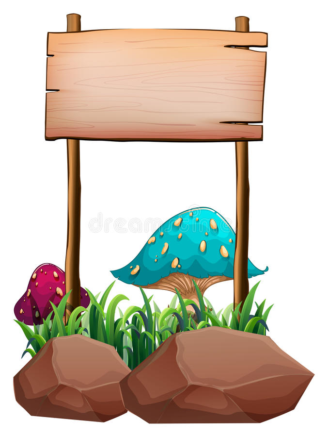 An empty wooden signboard near the big mushrooms and rocks