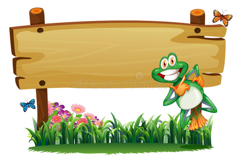 An empty wooden signboard with a playful frog. Illustration of an empty wooden signboard with a playful frog on a white background vector illustration