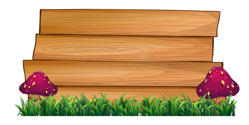 Download Empty Wooden Signboards With Mushrooms At Both Sides Stock Illustration - Image: 32330989
