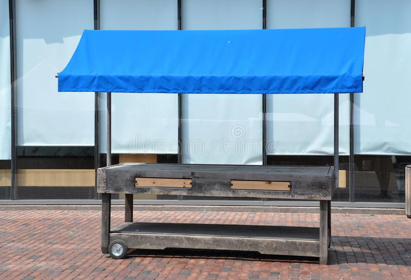Empty wooden stall stock image