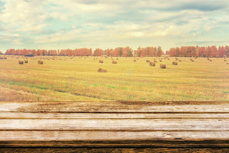Empty wooden table with autumn landscape of beveled field and straw bales. Mock up for display or montage products. Empty wooden table with autumn landscape of royalty free stock images