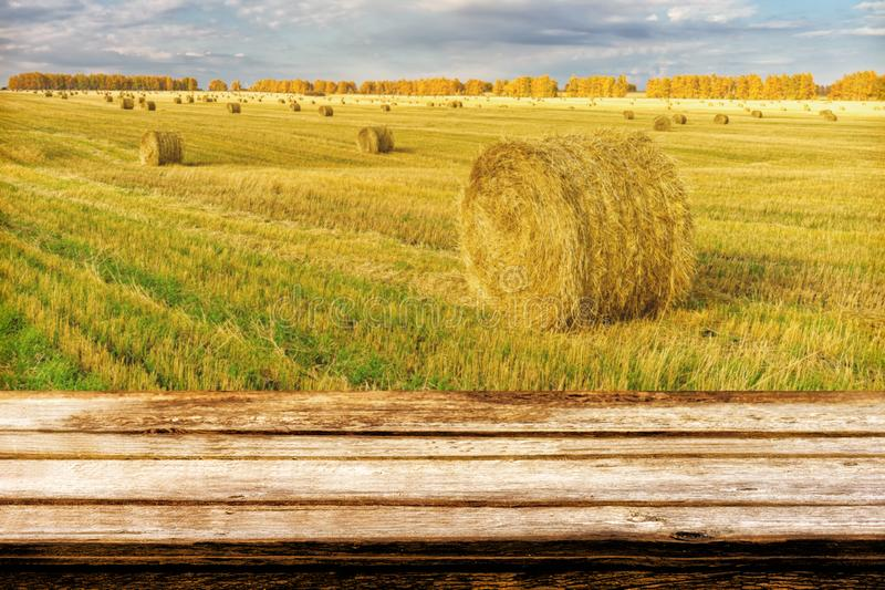 Empty wooden table with blurred autumn landscape of beveled field and straw bales. Mock up for display or montage products. Empty wooden table with blurred royalty free stock photo