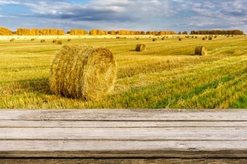 Empty wooden table with blurred autumn landscape of beveled field and straw bales. Mock up for display or montage products. Empty wooden table with blurred royalty free stock photography