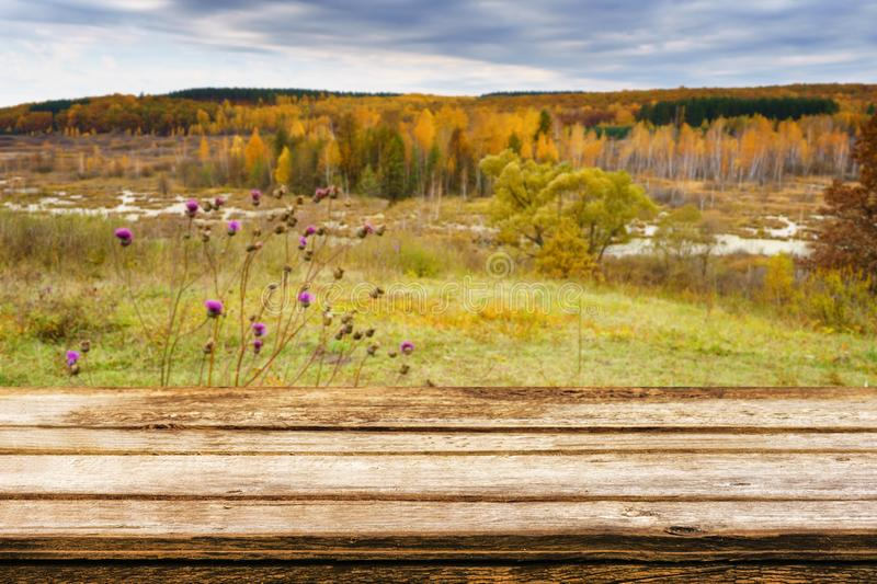 Empty wooden table with blurred picturesque autumn landscape of view from the hill to the lowland with forest and swamps. Mock up royalty free stock photos